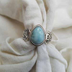 Larimar & Sterling Silver Filigree Handmade Ring